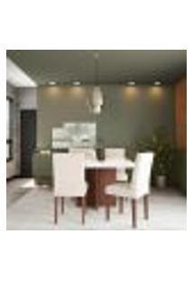 Conjunto De Mesa De Jantar Sevilha I Com Tampo De Vidro Off White E 4 Cadeiras Grécia Veludo Creme