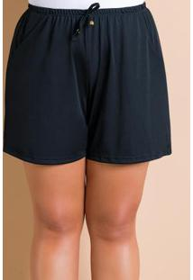 Short Com Amarração Preto Plus Size