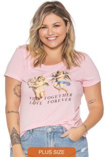 T-Shirt Feminina Básica Em Estampa Rosa