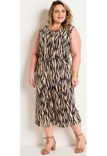 Macacão Pantacourt Zebra Plus Size