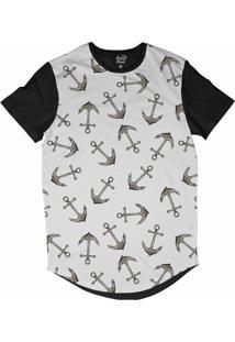 Camiseta Longline Long Beach Náutica Âncoras Ferrugem Sublimada Branco