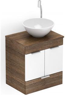Gabinete Para Banheiro Em Mdf Com Cuba Basic 50X38Cm Wengué E Branco
