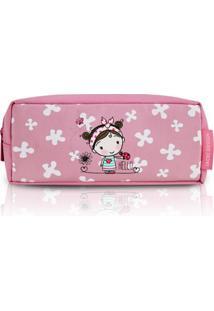 Necessaire Estojo Infantil Garotinha Morena Jacki Design Pequeninos Rosa