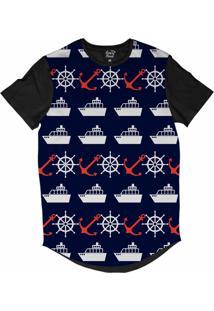 Camiseta Longline Long Beach Náutica Embarcação E Âncora Sublimada Azul