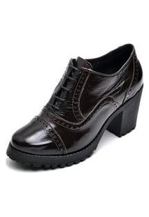 Ankle Boots Oxford Em Couro Feminino Maria Trevo Cano Curto Salto Grosso Tratorado - Café