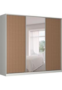 Guarda-Roupa Casal Com Espelho Tunas Ii 3 Pt 3 Gv Branco E Marrom