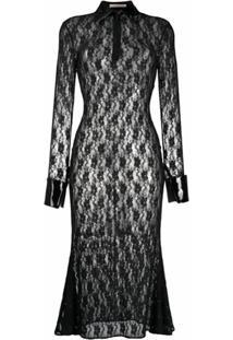 Christopher Kane Vestido Midi Com Renda Floral - Preto