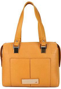 Bolsa Couro Jorge Bischoff Shopper Micro Lezard Basic Feminina - Feminino-Amarelo