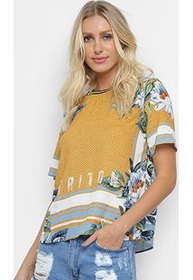 Camiseta Triton Flores Feminina - Feminino-Estampado