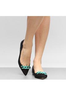 Sapatilha Couro Shoestock Corrente Resina Feminina - Feminino-Preto