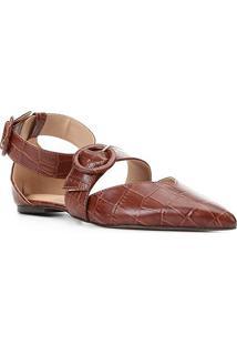 Sapatilha Couro Shoestock Croco Tira Removível Feminina - Feminino-Tabaco