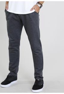 Calça Masculina Básica Em Moletom Cinza Mescla Escuro