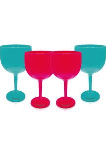 Kit 4 Taças Gin Azul E Rosa Acrílico Ps Krystalon