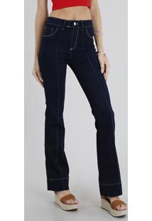 17df07917 ... Calça Jeans Feminina Flare Sawary Com Friso Azul Escuro