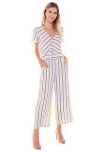 1ccb46696 Macacao Studio 21 Fashion Stripes - Feminino-Lilás