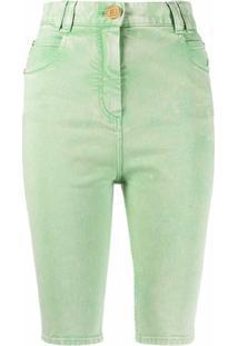 Balmain Bermuda Jeans Com Efeito Manchado - Verde