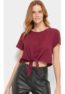 Blusa Mob T-Shirt Cropped Nó Feminina - Feminino-Vinho