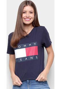 Camiseta Tommy Jeans Tommy Flag Tee Feminina - Feminino-Azul+Marinho