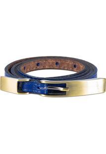 Cinto Canellado Slim Mini Com Fivela E Passante Metal Azul