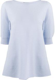 Emporio Armani Blusa De Tricô Com Listras - Azul