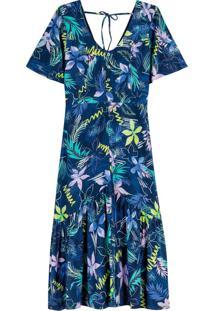 Vestido Azul Mídi Tropical