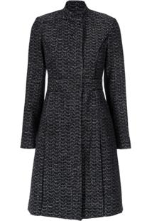 Tufi Duek Trench Coat Brocado - Preto