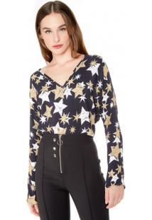 Blusa Amaro Decote V Estampada Feminina - Feminino