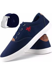 Sapatênis Dhl Calçados Casual Marinho Com Cinto Azul Marinho