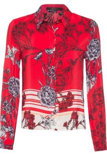 Camisa Feminina Barrado Grimaldi - Vermelho