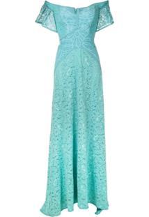 Martha Medeiros Vestido Longo Rafaela Rendado - Azul