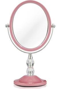 Espelho Jacki Design Bancada Dupla Face Det Cristais Awa1612 Rosa Unico