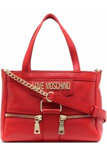 Love Moschino Bolsa Tote De Couro Com Detalhe De Zíper - Vermelho