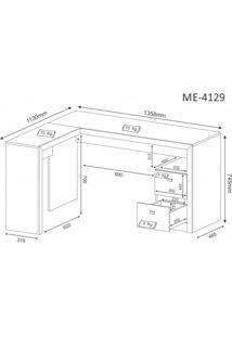 Mesa Para Escritório Em L 2 Gavetas Me4129 Tecno Mobili Amendoa