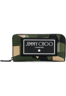 Jimmy Choo Carteira Camuflada Com Zíper - Verde