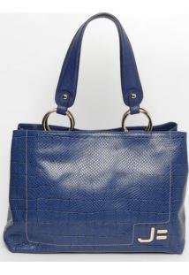 Bolsa Em Couro Snake- Azul- 28X50X13Cmjorge Bischoff