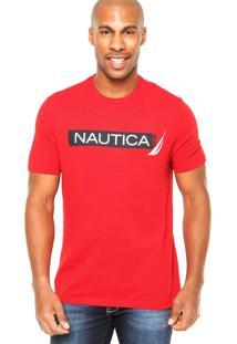 Camiseta Nautica Estampada Vermelha