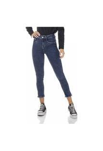 Calça Jeans Denim Zero Skinny Média Cropped Com Zíper Decorativo Na Barra