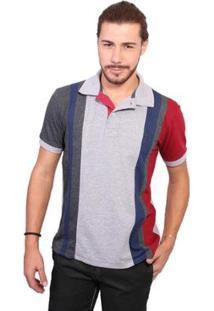 Camisa Polo Golf Club Trios - Masculino-Cinza+Vinho