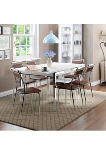 Conjunto De Mesa Contemporânea Com 6 Cadeiras Casual Branco E Cacau