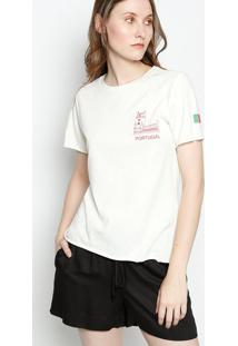 Camiseta ''Portugal'' - Off White & Vermelho Escurocanal
