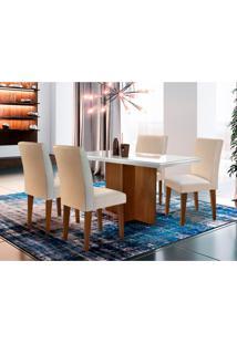 Conjunto De Mesa De Jantar Berlim Ii Com Tampo De Vidro Off White E 4 Cadeiras Grécia Veludo Creme