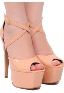 Sandália Zariff Shoes Meia Pata Verniz - Feminino-Nude