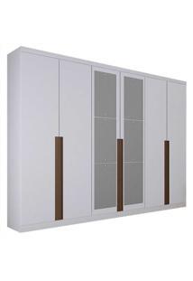 Guarda-Roupa Casal Com Espelho 6 Portas Quebec- Novo Horizonte - Branco