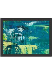 Quadro Decorativo Abstrato Moderno Azul Pincel Verde Preto - Médio