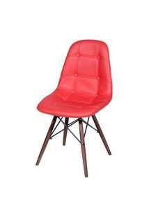 Cadeira Eames Botone Vermelha Base Escura - 44873 Vermelho