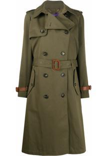 Ralph Lauren Collection Trench Coat De Seda Com Abotoamento Duplo E Cinto - Verde