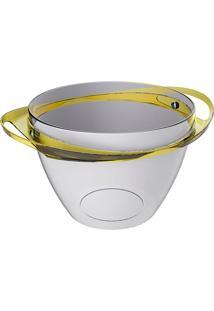 Balde De Gelo Com Alças - Cristal/Amarelo - Multistock