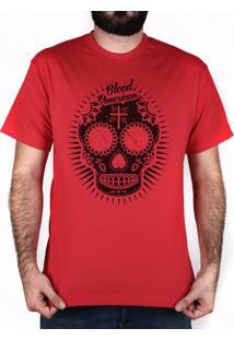 Camiseta Bleed American Sugar Skull Vermelha