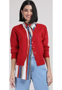 Cardigan De Tricô Feminino Decote V Vermelho