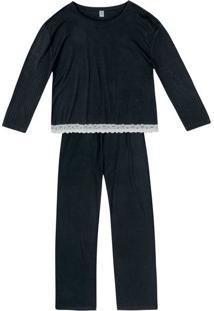 Pijama Longo Feminino Com Renda
